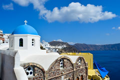 Oia town on santorini island. The oldest church on the island of Santorini Royalty Free Stock Images