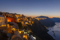 Oia town on Santorini at night Royalty Free Stock Images