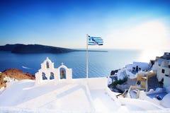 Oia Town and Sea, Santorini Island, Greece Royalty Free Stock Photo