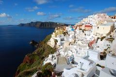 Oia, town in the slope, Santorini Royalty Free Stock Photos