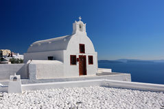 Oia traditional church in Santorini island, Greece Royalty Free Stock Photos