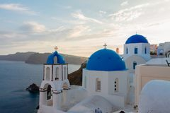 Oia, traditional greek village stock photo