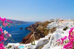 Oia, traditional greek village and Aegan sea, Greece Stock Image