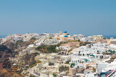 Oia, traditional greek village and Aegan sea, Stock Images