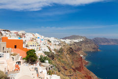 Oia, traditional greek village and Aegan sea, Royalty Free Stock Photo