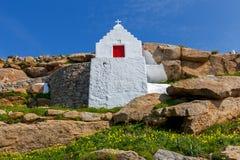 Oia Traditionelles Gebäude der griechischen Kirche Stockfoto