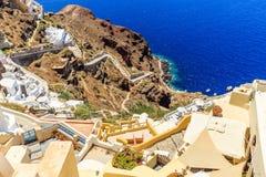 Oia-Treppe zum Meer Stockfotos