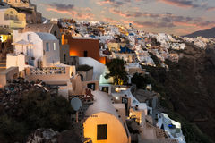 Oia View. Panoramic view of oia village in santorini Greece Stock Image