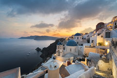 Oia View. Panoramic view of oia village in santorini Greece Royalty Free Stock Images