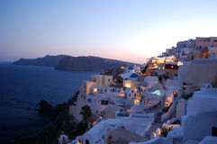 Oia Village at dusk Royalty Free Stock Photo