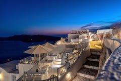 Oia village by night - Aegean sea - Santorini island - Greece. View of Oia village by night - Aegean sea - Santorini island - Greece royalty free stock photography