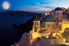 Oia village at night, Santorini Royalty Free Stock Images
