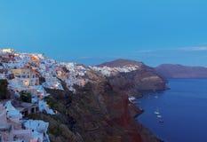 Oia village at night, Santorini Stock Photo