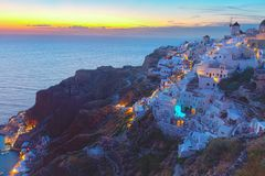 Oia village at night, Santorini Royalty Free Stock Photography