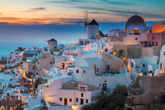 Oia village at night, Santorini Stock Images