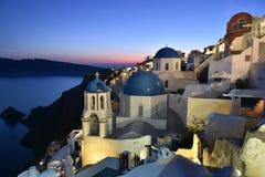 Oia Village, Santorini. Blue Domes of a church in Oia Village, Santorini, Greece Stock Image
