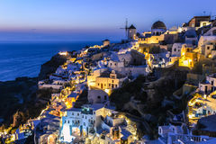 Oia village in Santorini in the evening, Greece Royalty Free Stock Photography