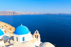 Oia village in Santorini island Stock Image