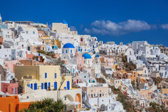 Oia village on Santorini island in Greece Stock Images