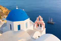 Oia village on Santorini island, Greece. Stock Photo