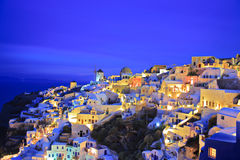 Oia village on Santorini island at night Royalty Free Stock Photos