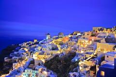 Oia village on Santorini island at night Royalty Free Stock Photos