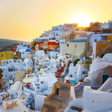 Oia village on Santorini in sunset, Greece. Stock Photos