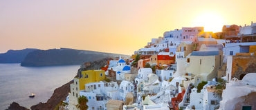 Oia village on Santorini in sunset, Greece. Stock Photo
