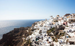 Oia village, Santorini, view with windmills Stock Images