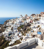 Oia village, Santorini, view with windmills Royalty Free Stock Photo