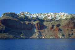 Oia village seen from the sea,Santorini Royalty Free Stock Photos