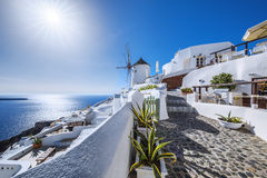 Oia village with sun Royalty Free Stock Photography