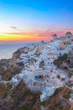 Oia village at sunset, Santorini Stock Photo