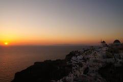 Oia village at sunset, Santorini island, Greece Royalty Free Stock Image