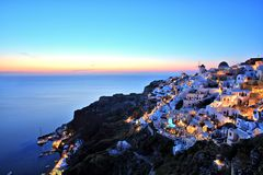 Oia Village at Sunset on Santorini Island Greece Royalty Free Stock Photos