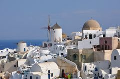 Oia - windmill - santorini (cyclades) Stock Photos