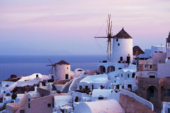 Oia windmills. Two windmills in the Oia village, Santorini, Greece Stock Photography