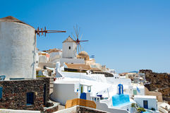 Oia windmills on the island of Santorini. Cyclades,Greece. Royalty Free Stock Image