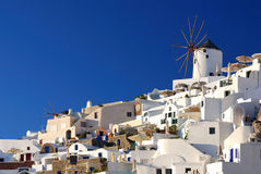 Oia windmills, Santorini, Greece Royalty Free Stock Images