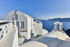 Oia wioska w ranku świetle, Santorini, Grecja Zdjęcia Stock