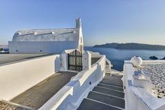 Oia wioska w ranku świetle, Santorini, Grecja Obrazy Stock