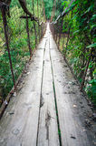 OId ruined rust cable bridge. OId ruined rusty cable bridge with wood floor Stock Images