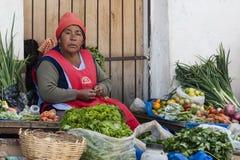 Oidentifierad bolivian kvinna som säljer grönsaker i gatan av Sucre, Bolivia Fotografering för Bildbyråer