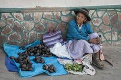 Oidentifierad bolivian kvinna som säljer grönsaker i gatan av Sucre, Bolivia Arkivfoton
