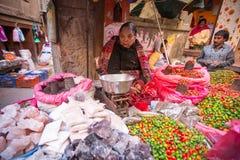 Oidentifierad gatuförsäljare i historisk mitt av staden Störst stad av Nepal, dess historiska mitt Royaltyfria Bilder