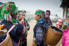 Oidentifierad Hmong kvinna i Sapa, Vietnam Arkivbilder
