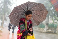 Oidentifierad Hmong kvinna i Sapa, Vietnam Royaltyfri Foto