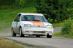 Oidentifierade chaufförer på vita tappningPeugeot 309 en tävlings- bil Arkivfoto