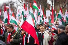 Oidentifierade deltagare som firar nationell självständighetsdagen en republik Arkivfoton