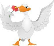 Oie avec la fleur Photos stock